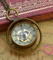 wholesale buyer crystal ball mechanical pocket watch necklace man women fob watches new bronze spinning glass with chain