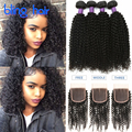 Sexy Formula Malaysian Curly Hair With Closure 4 Bundles 100% Human Hair Weave 7A Malaysian Kinky Curly Virgin Hair With Closure
