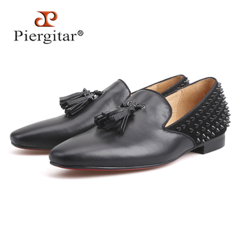 Luxury handmade Loafer Leather Vamp with Spikes Leather Tassels and Suede Spikes Counter Party and Prom Fashion men flats