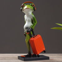 Modern frog ceramic statue creative animal sculpture abstract gentleman figurine cute personality home decoration crafts