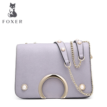 FOXER Fashion Brand Metal chain leather Shoulder &Crossbody Bags Luxury Ladies Messenger Bags free shipping