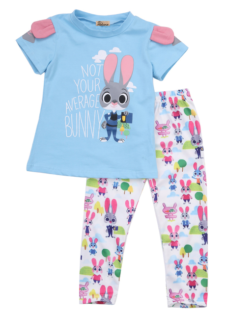 Zootopia Kids Girls Clothing Set 2Pcs Short Sleeve Cotton Outfits Set T shirt Tops + Long Pants