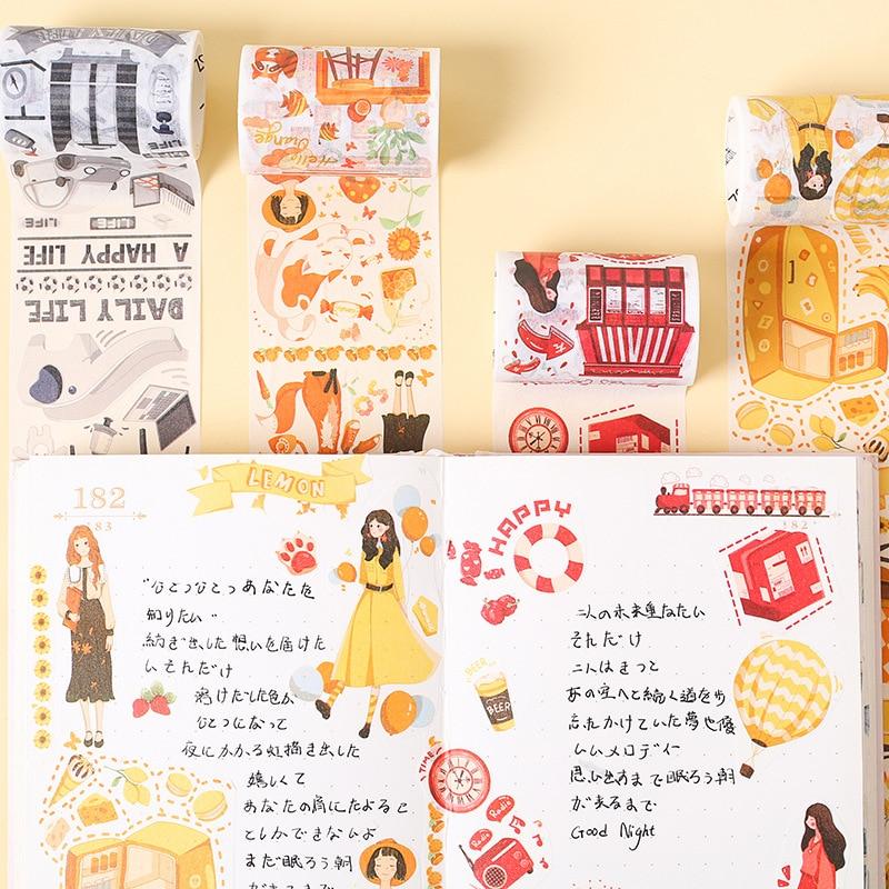 Youth Color Series Kawaii Planner Handbook Decorative Paper Washi Masking Tape School Art Supplies Stationery Album Stickers