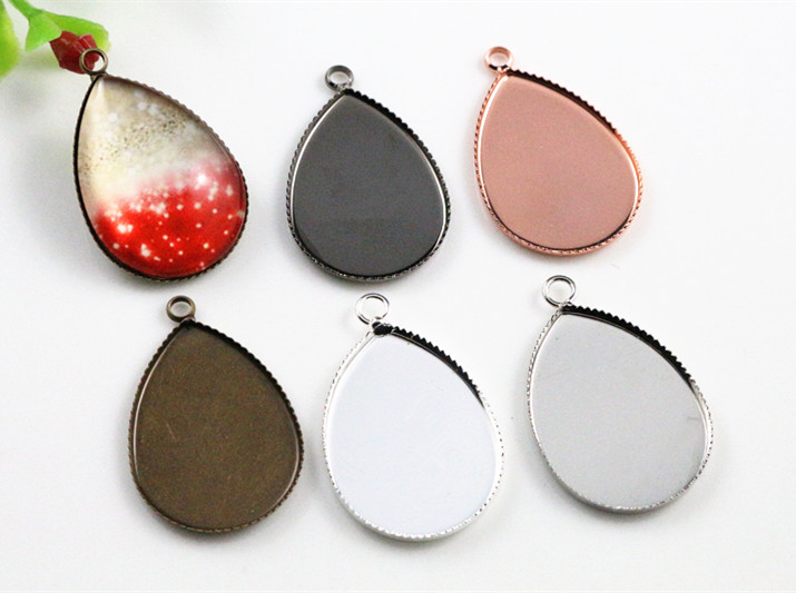10pcs 18x25mm High Quality 5 Colors Plated Copper Drop Style Tooth Cabochon Base Cameo Settings Cabochon Cameo Base