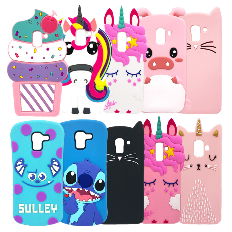 Silikon Fall Für <font><b>Samsung</b></font> Galaxy <font><b>J6</b></font> J4 Plus J8 2018 <font><b>J6</b></font> + J4 + 3D Cartoon Anime Telefon Abdeckung <font><b>Coque</b></font> einhorn Stich Minnie Maus Nette image
