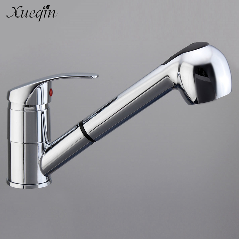 Xueqin Pull Out Kitchen Cold Water Mixer Tap Single Handle Spray Bathroom Sink Basin Washbasins Faucet