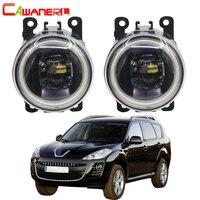 Cawanerl For Peugeot 4007 GP_ 2007 2013 Car 4000LM H11 LED Bulb Fog Light Assembly Angel Eye Daytime Running Light DRL 12V