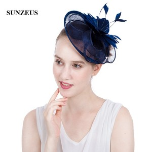 Image 2 - White Wedding Hat for Bridal Feathers Linen Flowers Elegant Womens Party Hats Navy Blue tocados sombreros bodas  SH64