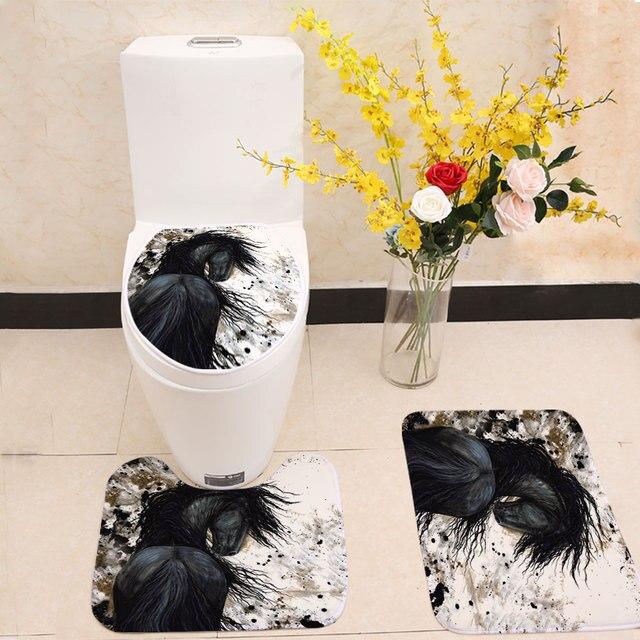 Miracille 3 Pz/set di Spessore Inverno Scaldino Lavabile Toilet Set Tappetino Da Bagno Horse Stampa Copertura di Sede Anti Slip da Bagno Tappeto Bagno Decor