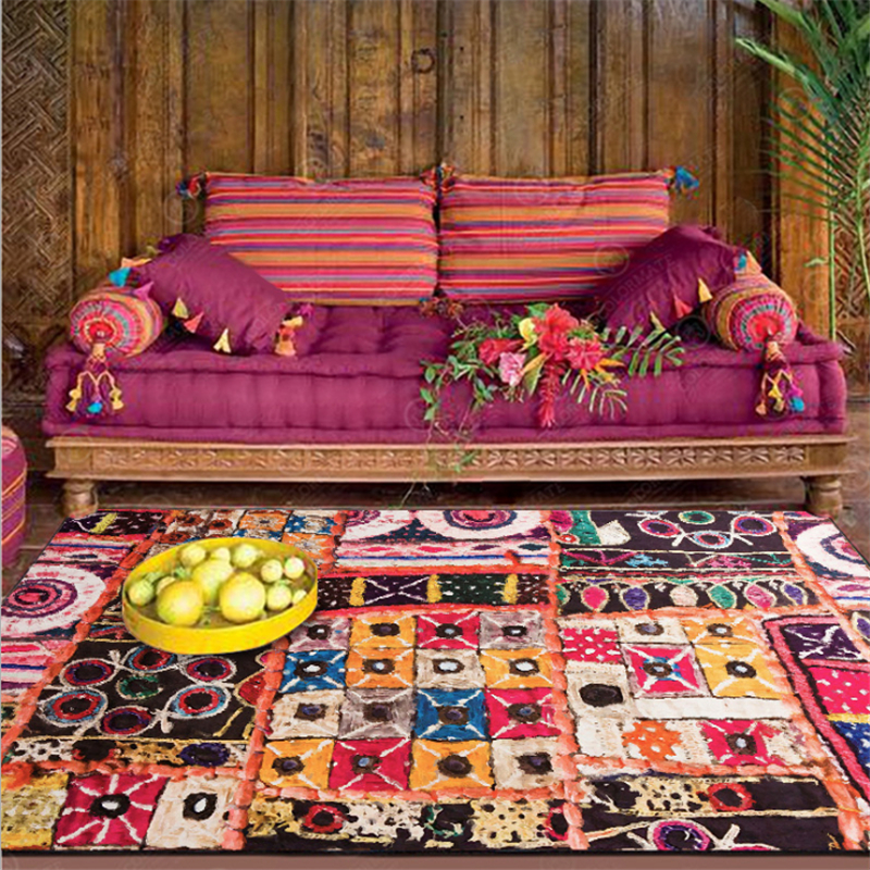 Vintage Bohemian National Wind Color Mosaic Short Crystal Velvet Carpet  Rugs and Carpets for Home Living Room  Bedroom Rug|Carpet| |  - title=