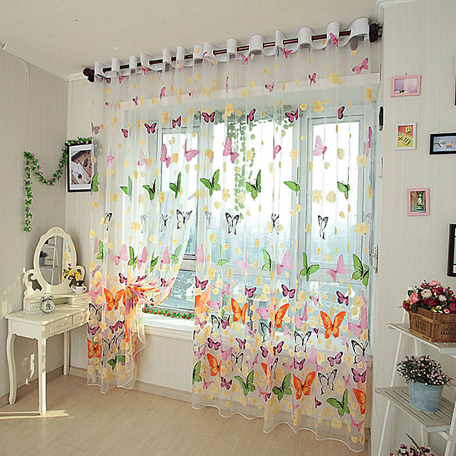 Romantische Schmetterling Vorhang Garn Tüll Schlafzimmer Bereit Fertige  Organza Kind Fenster Cortina Für Wohnzimmer Wohnkultur