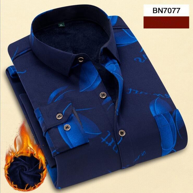 Рубашка с принтом 2018 Новая Осенняя зимняя темно-синяя рубашка мужская рубашка с длинным рукавом Chemise Homme Хлопковая мужская рубашка с принтом...