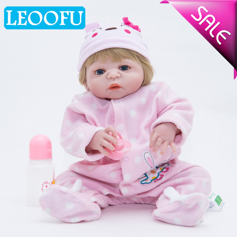 LEOOFU 55cm 22inch baby reborn play house toys christmas gift doll Handmade full silicone vinyl reborn baby doll with set kids
