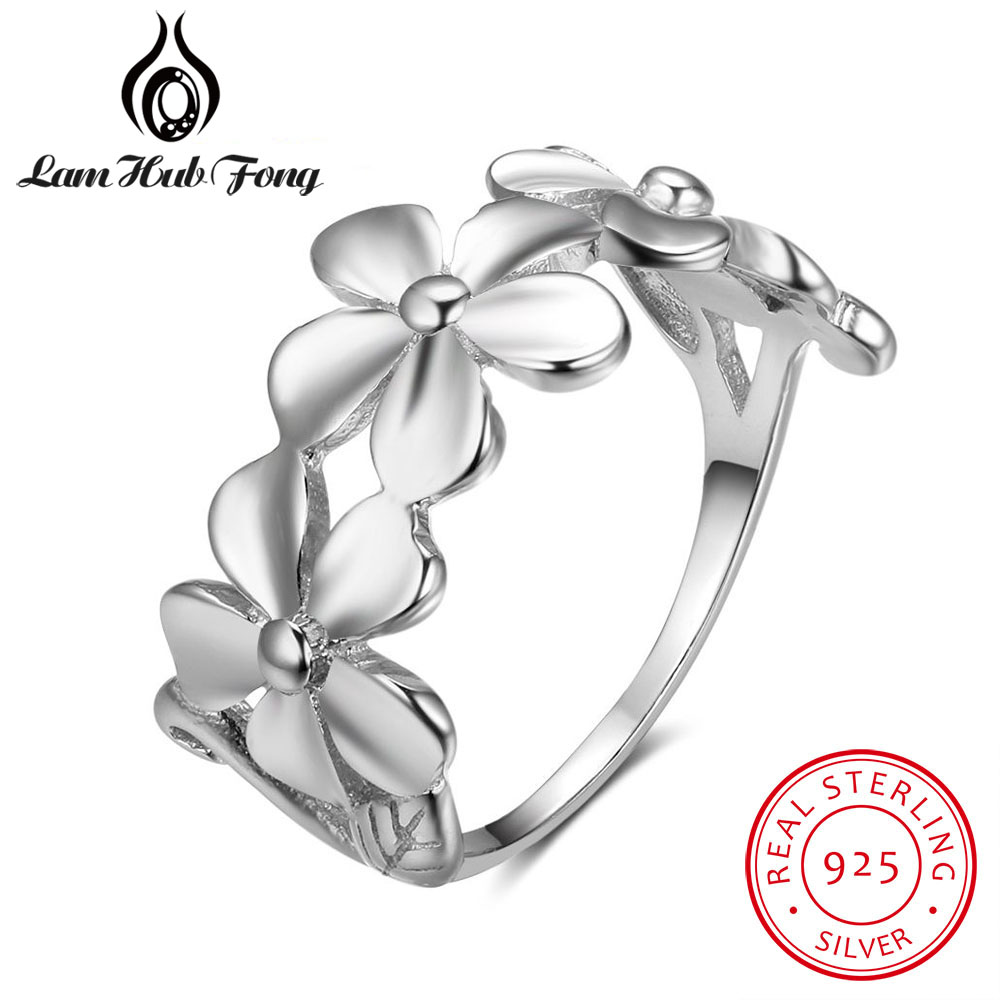 Vintage 100% 925 Sterling Silver Flower Rings for Women Female Retro - Fine Jewelry
