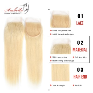 Image 5 - 613 חבילות עם סגירה ברזילאי ישר רמי שיער ארבלה 100% שיער טבעי Weave חבילות בלונד חבילות עם סגירה