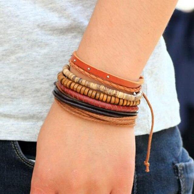 ZOSHI Vintage Tribal Bohemian Wood Beads Bracelet Boho Bracelet Cuff Men Leather Braclet Femme Male Wrist Band Handmade Jewelry 3