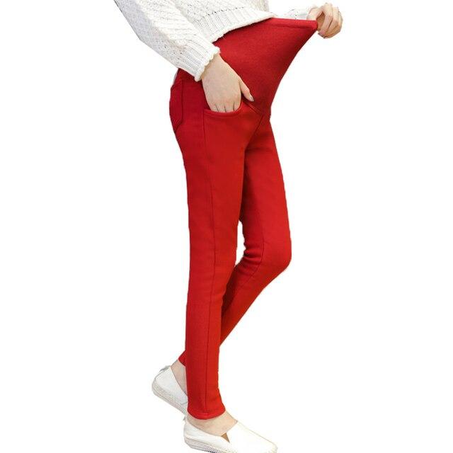 Casual Maternity Pants Pregnancy  Clothing  Warm Pants Pencil Pants Thick velvet  winter legging maternity clothes maternidade