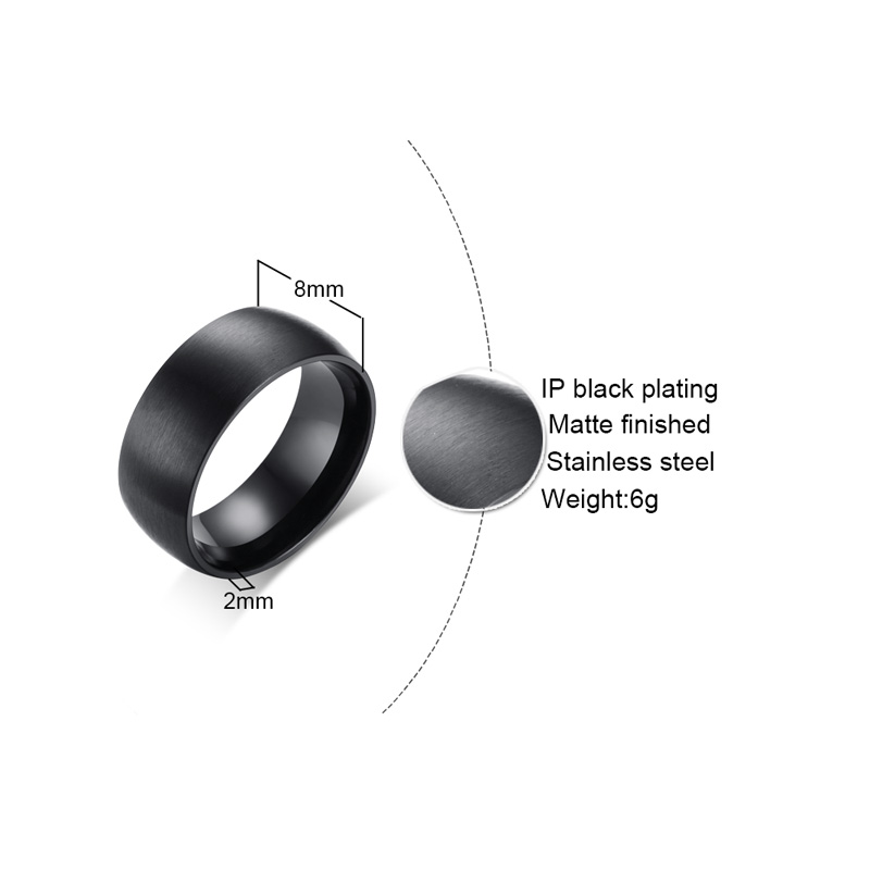 Meaeguet 8mm Wide Black Stainless Steel Engagement Ring Matte Brushed Center Jewelry Bague Homme For Male Wedding Bands