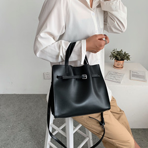 Image 4 - Solid Color Pu Leather Shoulder Bags For Women 2020 Fall High Capacity Handbags and Purses Belt Design Lady Travel Hand Bag