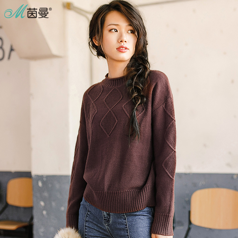 INMAN 2018 New Products Women Winter Pullovers  Round Neck  Solid Color Sweater Women