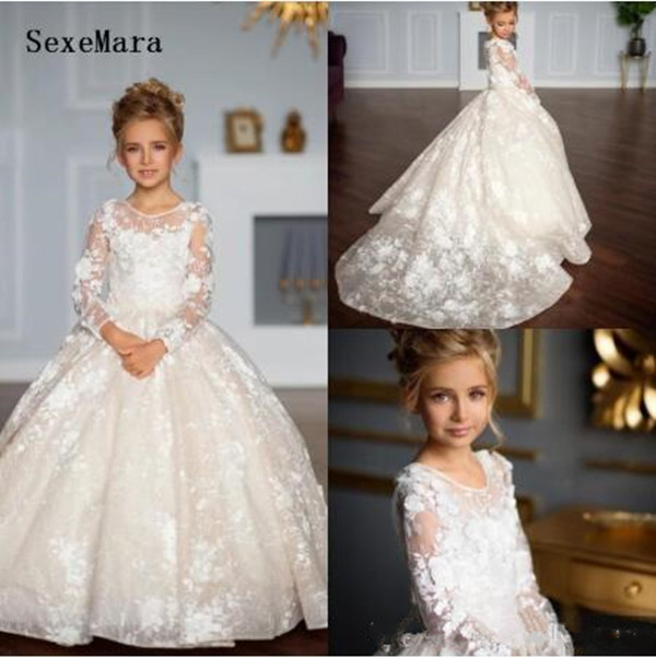 High Quality   Girls   First Communion Gowns with Buttons Full Sleeves Customzied   Flower     Girl     Dress   For Wedding Kids Prom   Dresses