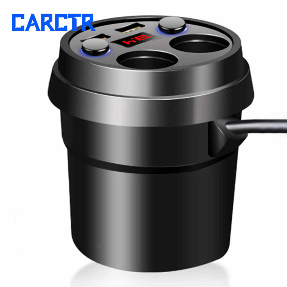 3.1A Fast Charging Car Cup Holder Adapter Charger Dual USB Auto 12V Socket Splitter Vehicle Power Splitter Car Accessories