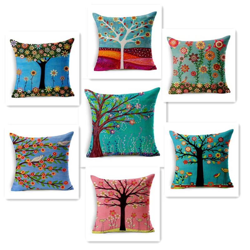 Colorful Throw Pillows Bedroom : colorful throw pillows bedroom colorful season life tree pillow case throw pillow cover
