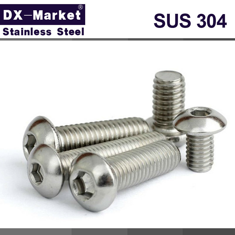 <font><b>m8</b></font> button head cap screw 304 stainless steel round head socket cap screw , Fitness equipment <font><b>bolt</b></font> 10mm-110mm ,A017 image
