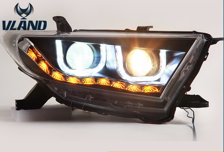 Free shipping vland  Car Styling LED Head Lamp Headlight Kit For Toyotas Highlander 2012 2014 Led Turn Signal Drl High quality car styling tail lights for toyota highlander 2015 led tail lamp rear trunk lamp cover drl signal brake reverse