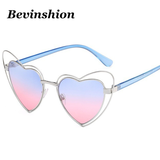845bd96a33ab Luxury Double Love Frame Metal Hollow Heart Sunglasses Women Pink Blue Lens  Color Cat Eye Sun
