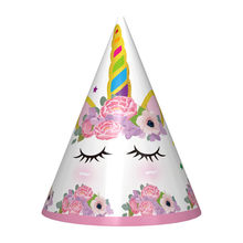 6pcs/lot Cartoon Unicorn Theme Party Hats For Kids Birthday Party Decroations Pink Girl Paper Hats Baby Shower Party Supplies(China)