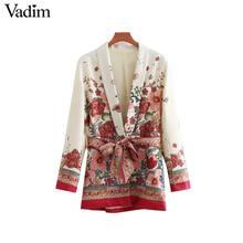 Vadim ผู้หญิง vintage พิมพ์ดอกไม้ blazer bow tie sashes เสื้อแขนยาวผู้หญิง retro chic outerwear casaco feminine tops CA014