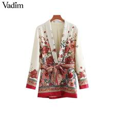 Vadim vrouwen vintage bloemenprint blazer strikje sjerpen lange mouwen jas vrouwelijke retro chic bovenkleding casaco feminine tops CA014
