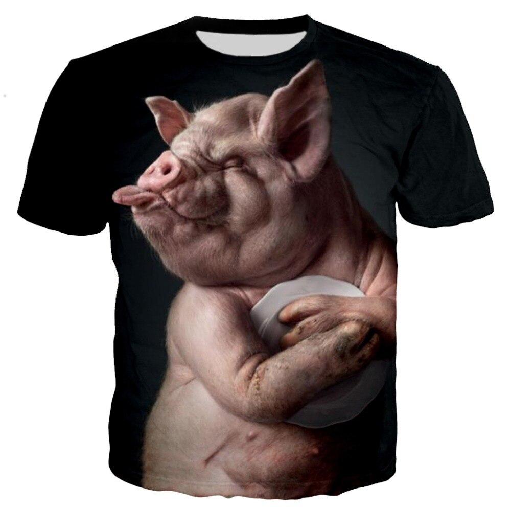 Nova chegada popular novidade animal porco cão vaca série t camisa das mulheres dos homens 3d impressão harajuku estilo t camisa verão topos 7xl