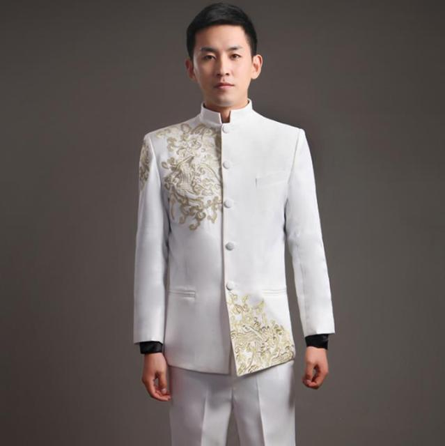 13e5c525bbd Blazer men formal dress latest coat pant designs embroidery stand collar  chinese tunic suit men marriage wedding suits for men s