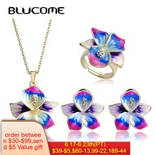 Blucome Purple Enamel Jewelry Sets Flower Pendant Thin Necklace French Hooks Earrings Ring Anel Bijuteria Wedding Accessories(China)