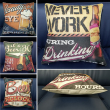 Creative Vintage Style Beer Pattern Print Cotton Linen Sofa Seat Cushion Cover For Car Bedroom Home Decor Square Throw Pillows countries national flag pattern linen throw cushion cover for home car office