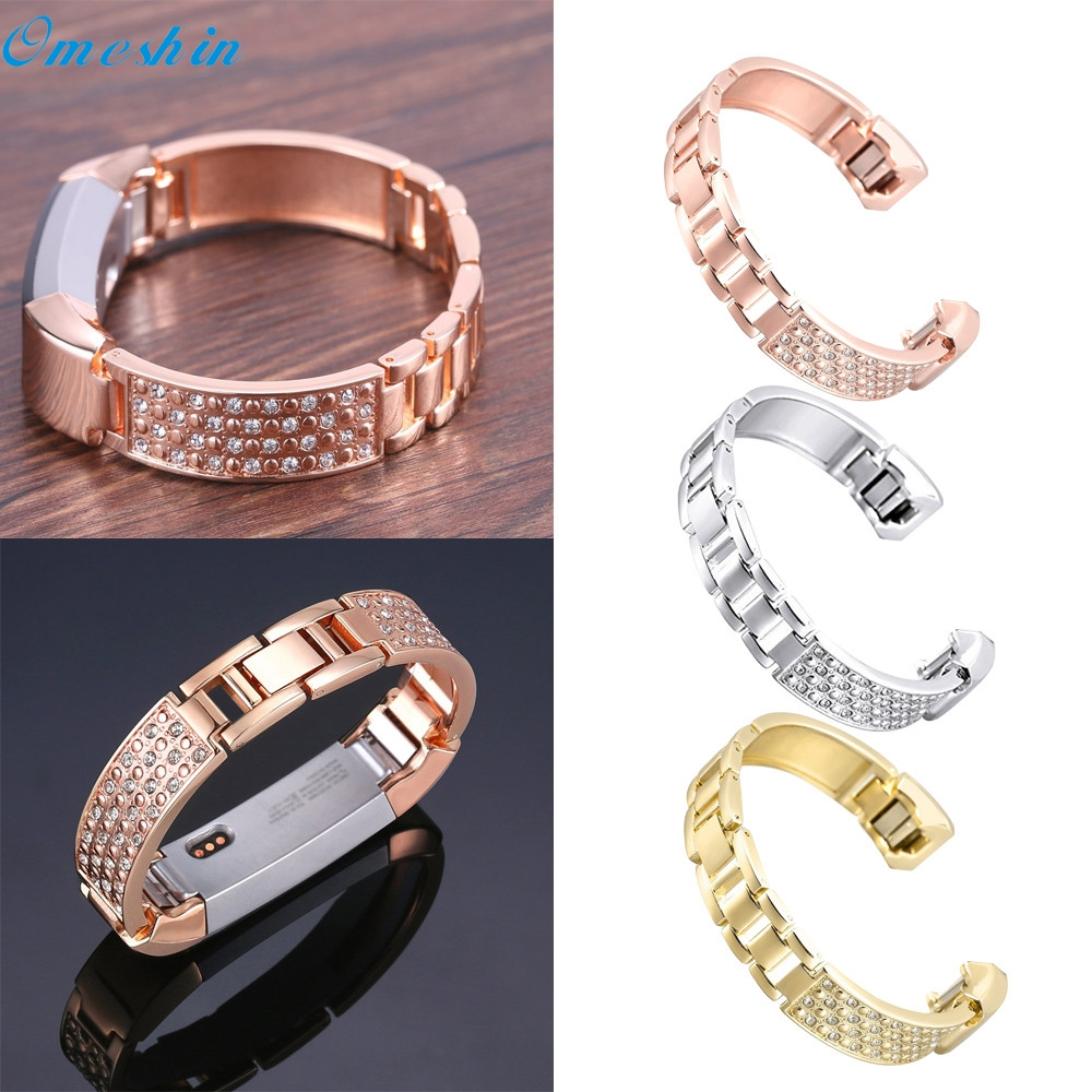 OMESHIN Replacement Metal Watch Bands With Rhinestone for Fitbit Alta Smart Watch 0324