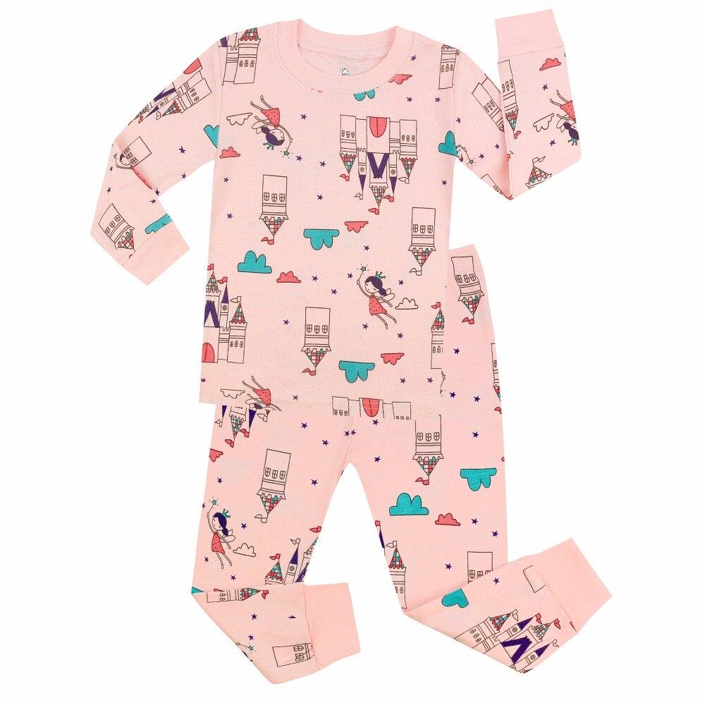 Deftig Kinderen Nachtkleding Volledige Katoenen Kasteel Meisjes Pyjama Katoenen Baby Nachtkleding Kinderen Pyjama Voor 2-7yrs Pijama Unicornio Infantil