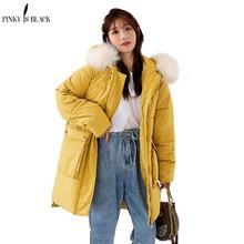 PinkyIsBlack Autumn Winter Jacket Women Long Parkas Fashion Fur Hooded Female Down Cotton Coat 2019 New