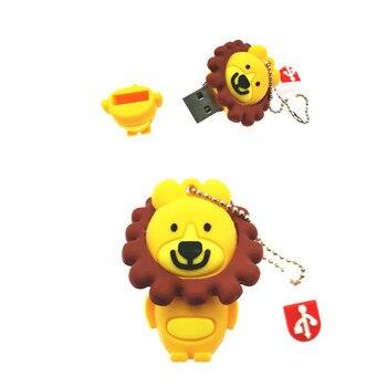 Hot Sale Cartoon Lion USB Flash Drive 4GB 8GB 16GB 32GB 64GB  Mini Cute Memory Stick Pendrive Creative Animal U Disk