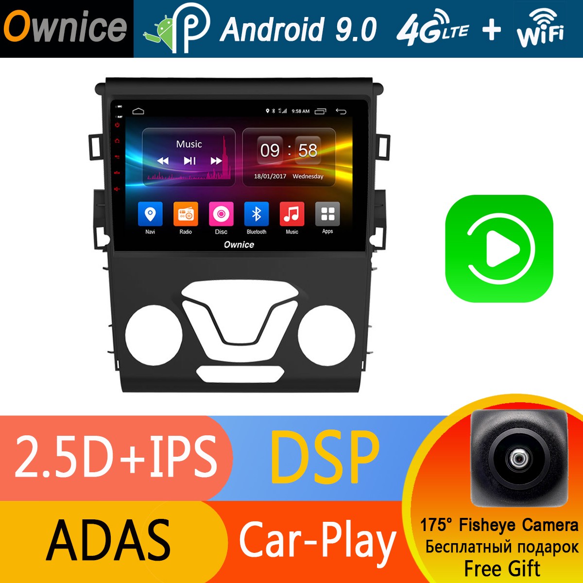 "9"" IPS Octa 8 Core Android 9.0 Car GPS DVD Radio Player For Ford Mondeo 2013 2014 2015 2016 2017 Audio Stereo Multimedia 4G WiFi"