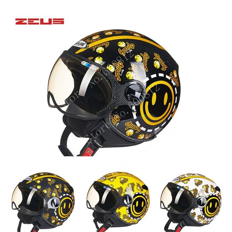 Точка красивая улыбка Зевса ЗС-210c 3/4 открытое лицо мотоциклетный шлем , черный желтый мотоцикл мотокросс мото шлем