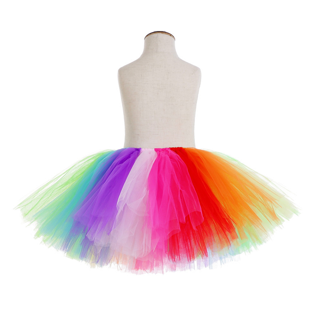 Rainbow Skirt Knee Length Nylon Mesh Tulle Skirt Kids Back to School Costume Happy Easter Party Tutu Skirt with Ribbon Bowknot (4)