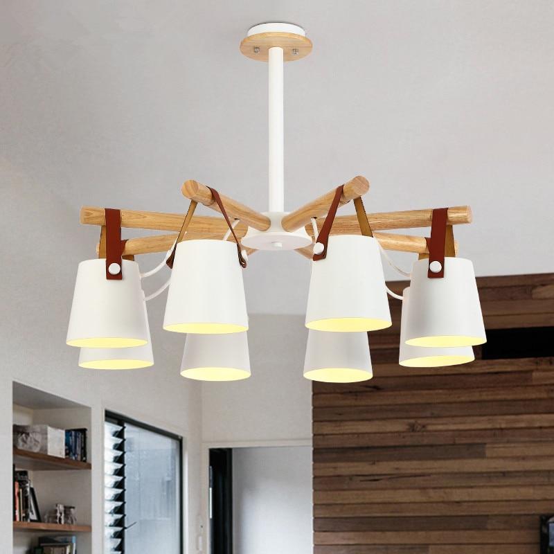 Designer Chandelier Lighting Modern LED Chandeliers With Iron Lampshades 110V 220V Wooden Lustres Foyer Hanging Lighting Pendant Lights     - title=