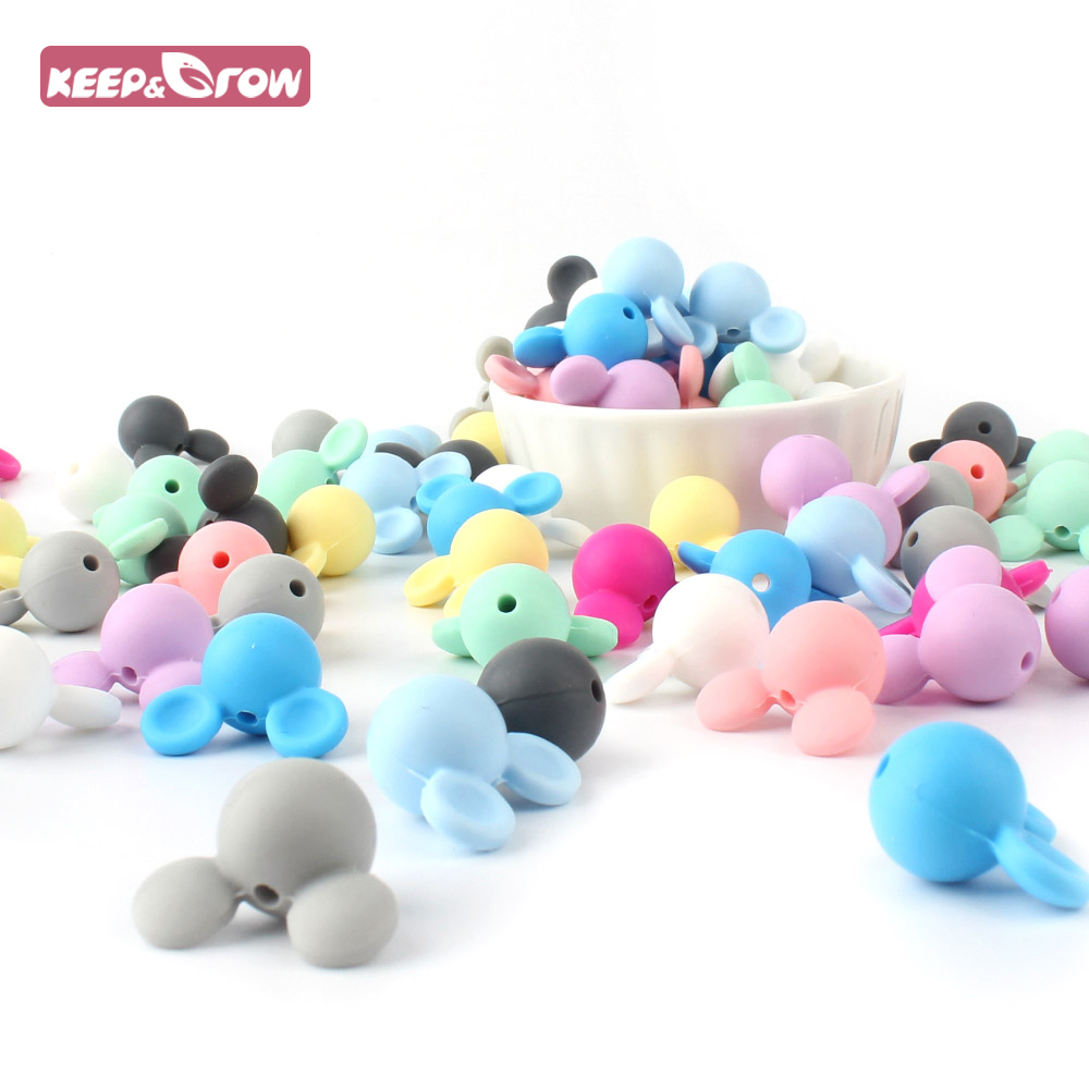 Keep/&Grow 10pcs//lot Mickey Silicone Beads Baby Teether Toy Soft Chew Teething