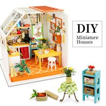 Robotime DIY Wooden Miniature Dollhouse Assembly Lol Doll House Model Building Kits Toys For Children DG105 Drop Shipping(China)