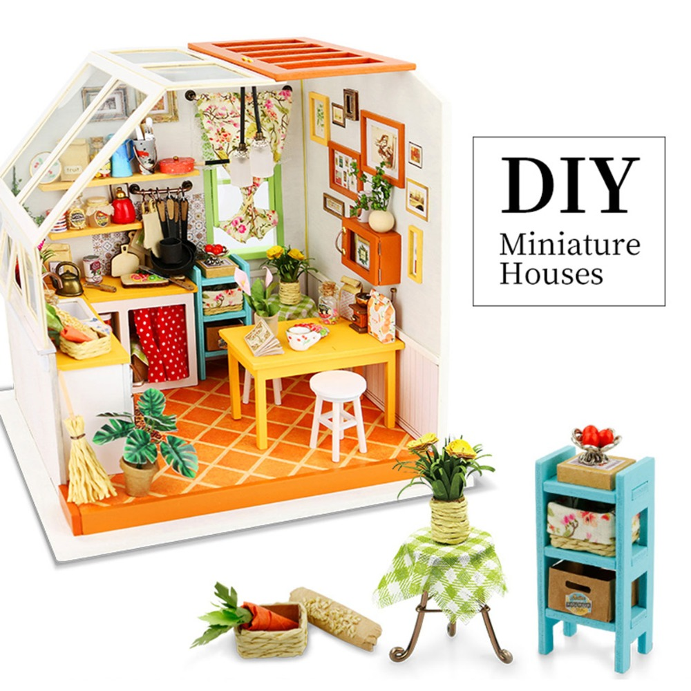 Robotime bricolage en bois Miniature maison de poupée assemblage Lol maison de poupée modèle Kits de construction jouets pour enfants DG105 livraison directe