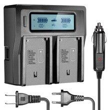 Neewer двойного канала жк-дисплей зарядное устройство с 3 разъем (сша/ес/автомобильный адаптер) для sony np-f550/f570/f750/f770/f930/f950/f960/