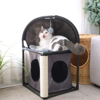 2 Levels All in One Multi Functional Cat Tree Condo Furniture Cat Tower Bed Climber Peek Holes Scratching Post Dangling Toy
